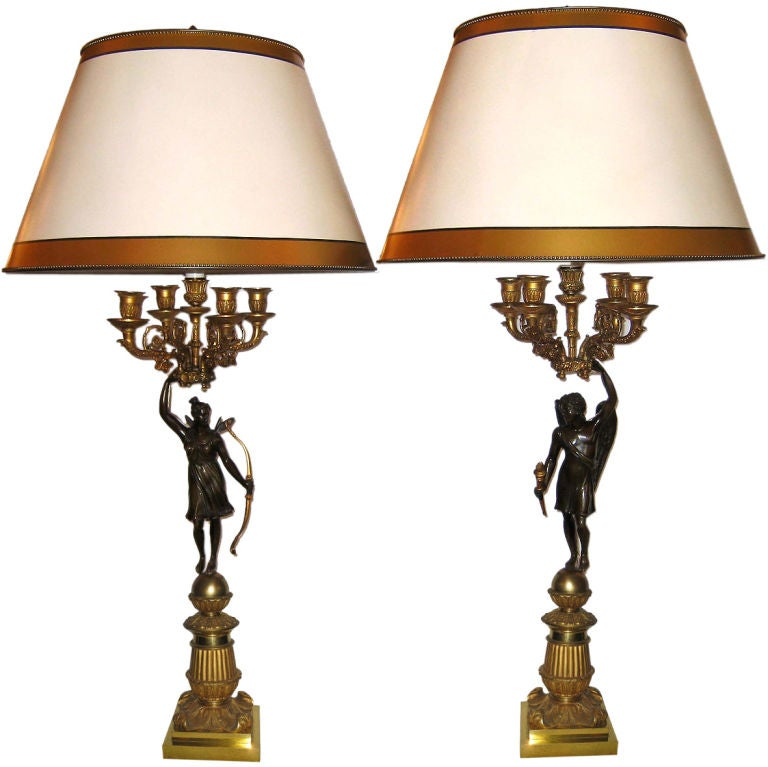 Pair of Empire Period 5 light  Figural Bronze Candelabra