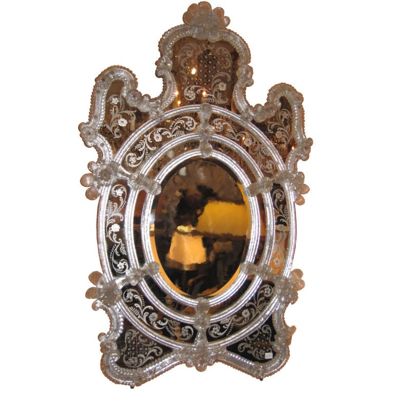 Venetian oval beveled glass mirror for sale at 1stdibs for Oval mirror canada