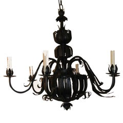 Pair of Italian wrought- Iron Mid Century Six light  Chandeliers