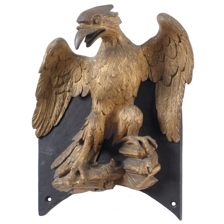 Carved Eagle Mounted On Wood Panel At 1stdibs
