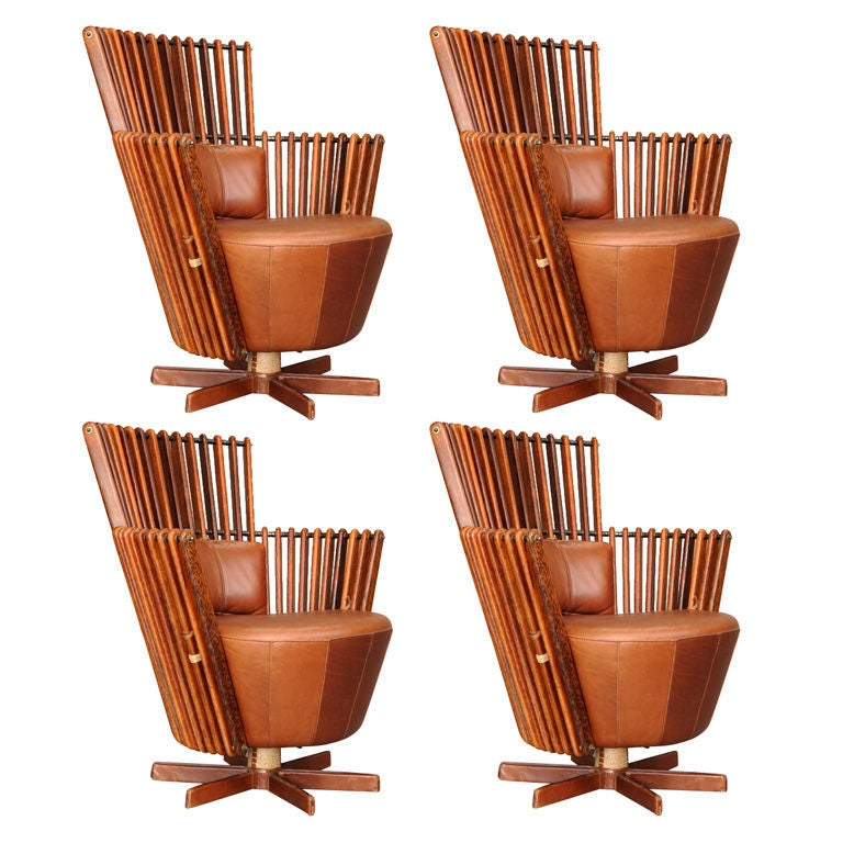 Leather and exotic wood club chairs at stdibs