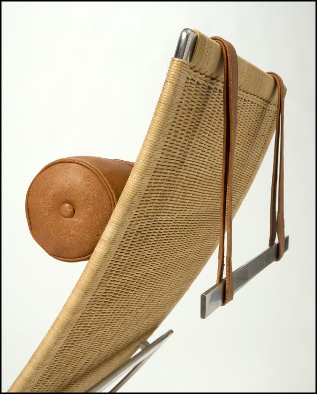 Pk 24 chaise longue by poul kjaerholm at 1stdibs for Brown leather chaise longue