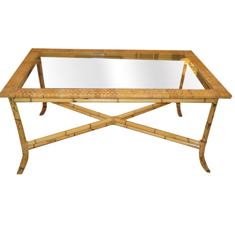 American bamboo and rattan glass table at 1stdibs for American rattan furniture manufacturer