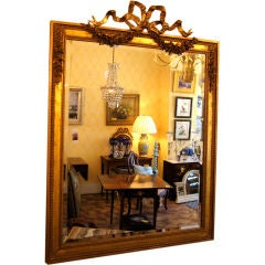 French Water Gilt Gold Bow Knot Mirror