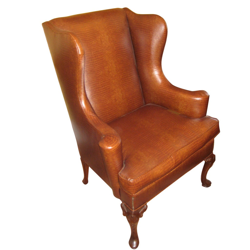 English queen anne style mahogany wing chair for Queen anne furniture