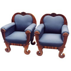 Pair of Large Comfortable Uniquely Designed Biedermeier Bergères