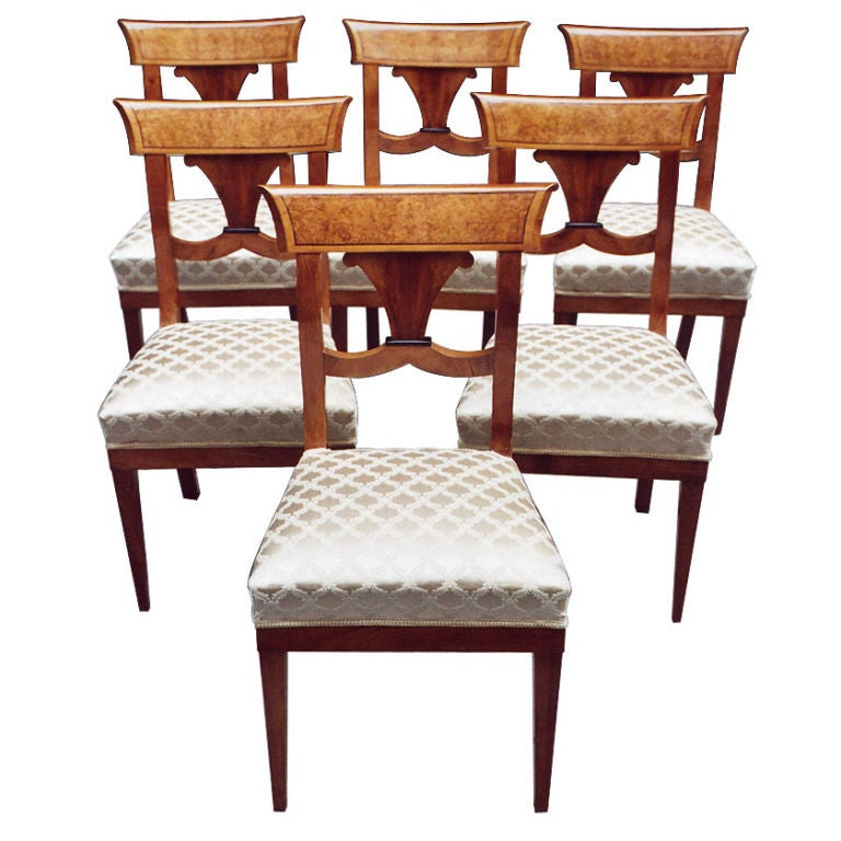 Outstanding set of 6 german biedermeier side chairs at 1stdibs for Dining room in german