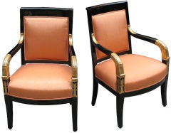 Pair of Ebonized, Giltwood Empire Armchairs