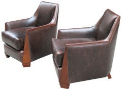 Pair of Art Deco club chairs, manner of Dominique