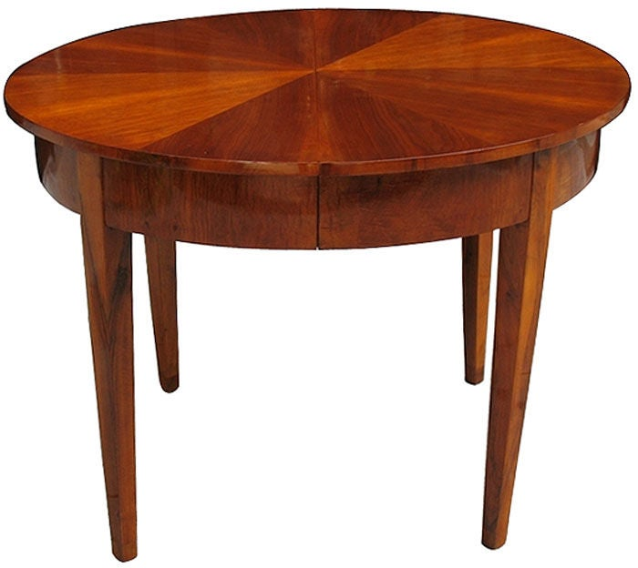 Rare Biedermeier Walnut Dining Table With 2 Extensions At
