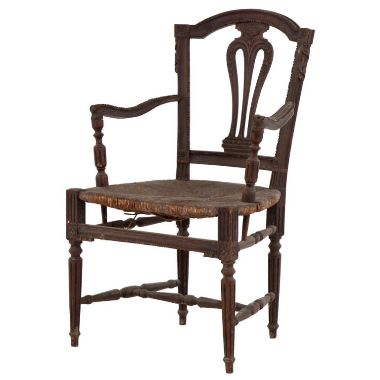 Antique Wooden Arm Chair At 1stdibs