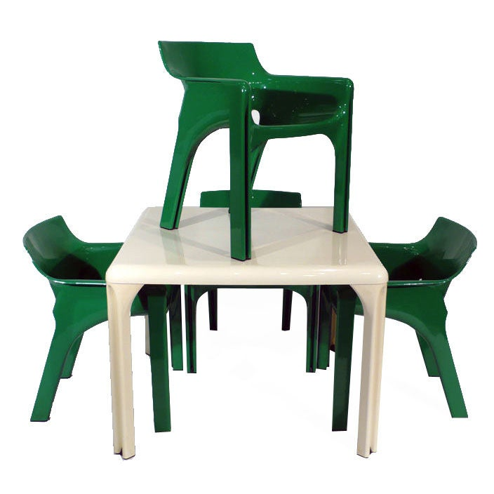 Vico Magistretti Table and Chairs at 1stdibs