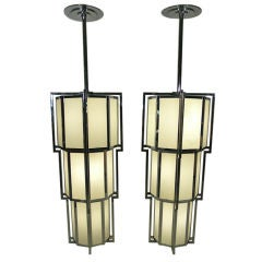 Monumental Pair of Vintage Art Deco Styled Milkglass Chandeliers