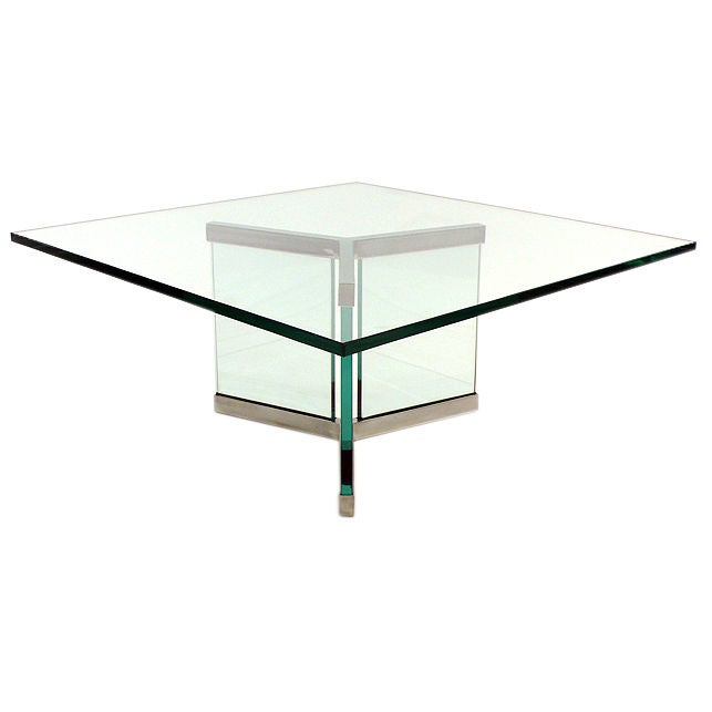 Leon Rosen Designed Cocktail Table for Pace glass nickel plated 1960s