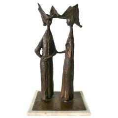 "Hugo Daini Bronze ""Nuns"" Sculpture bronze 1970s"