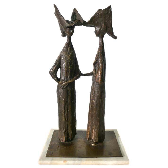 "Hugo Daini Bronze ""Nuns"" Sculpture bronze 1970s"