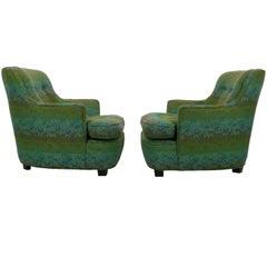 Diminutive Edward Wormley Dunbar Club Chairs green and turquoise fabric 1960s