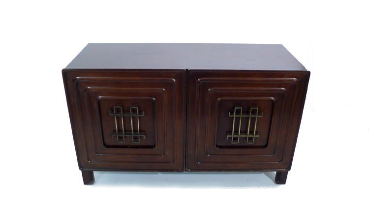 Edmond Spence Credenza 1950s brass mahogany For Sale 2