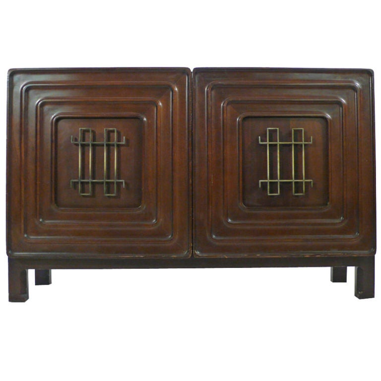 Edmond Spence Credenza 1950s brass mahogany For Sale