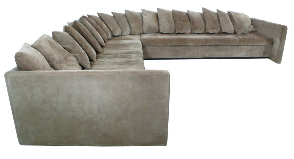 Rare and impressive joe d 39 urso suede sectional sofa at 1stdibs for Suede sectional