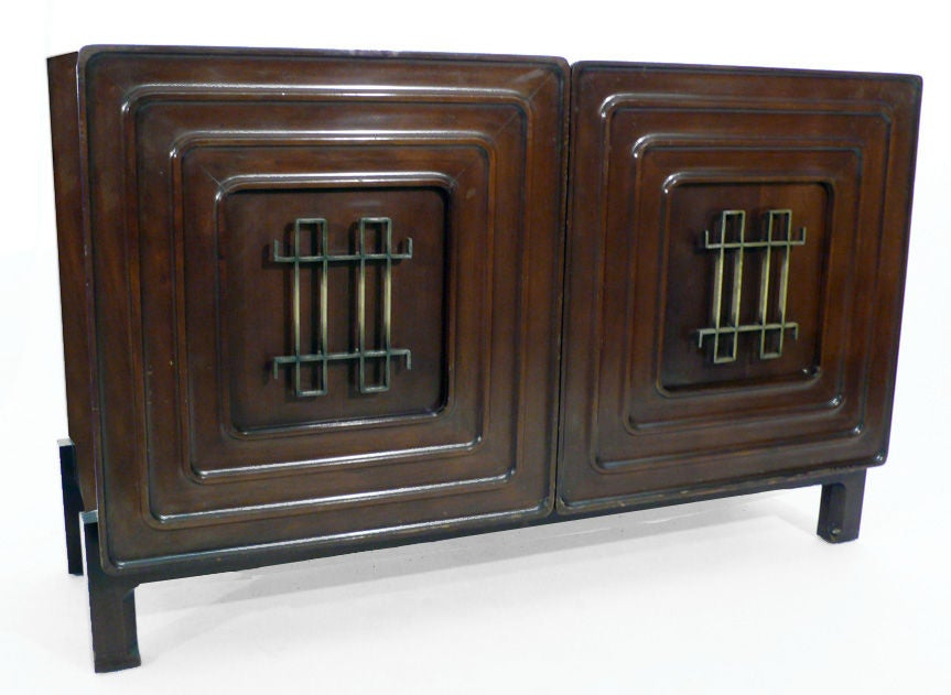Edmond Spence Credenza 1950s brass mahogany For Sale 4