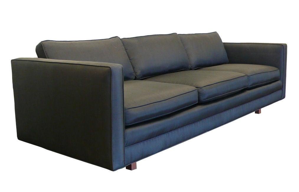 1960s Harvey Probber Black Raw Silk Tuxedo Sofa Fully