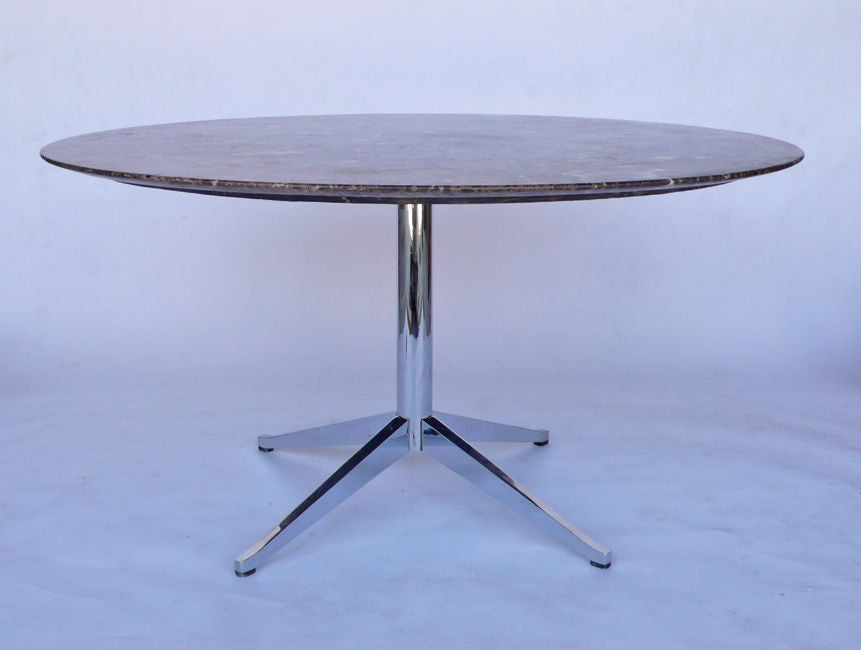 Round Emperador Marble Dining Table Designed By Florence Knoll At