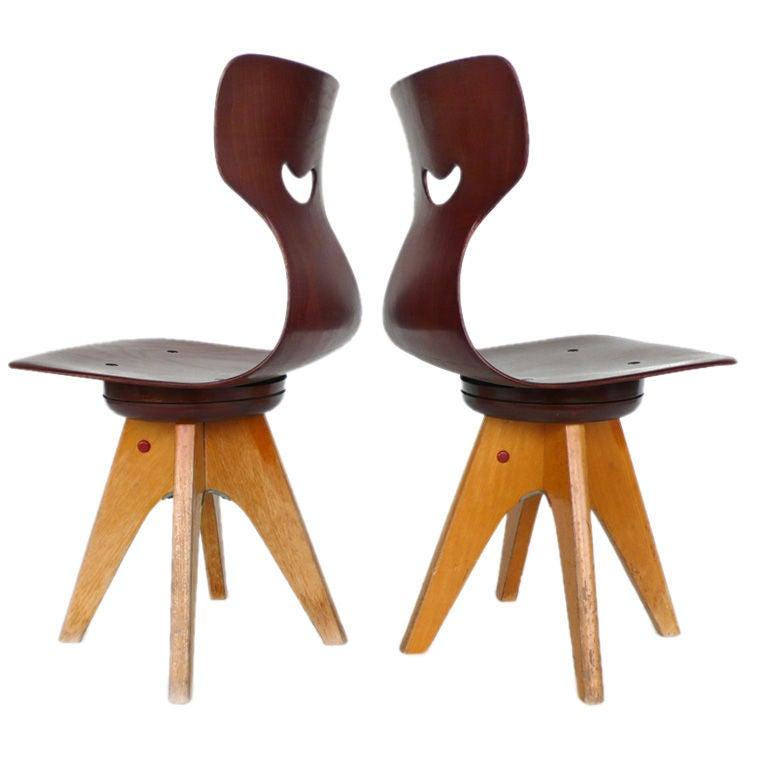 Pair of Modernist Bentwood Adam Stegner Children's Chairs Pagho 1960s