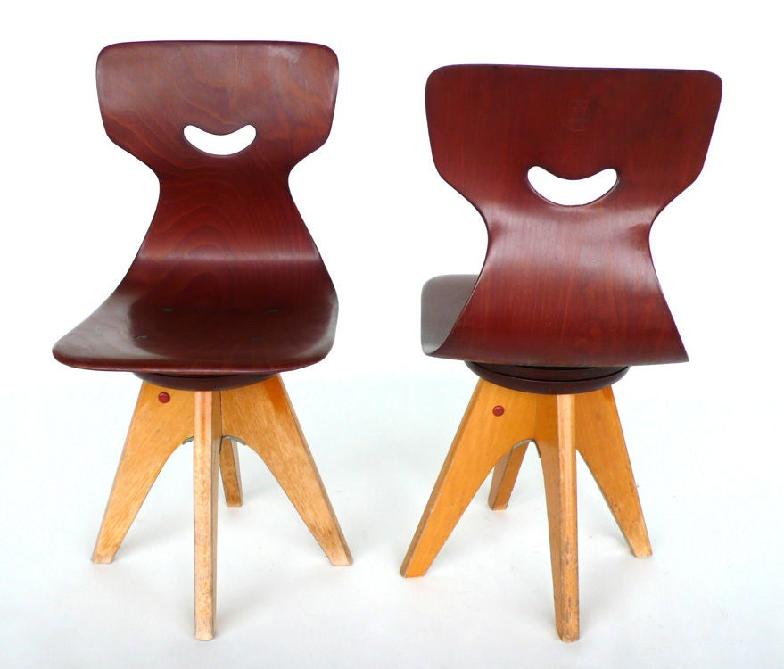 Pair of  Modernist Bentwood Adam Stegner Children's Chairs Pagho image 3