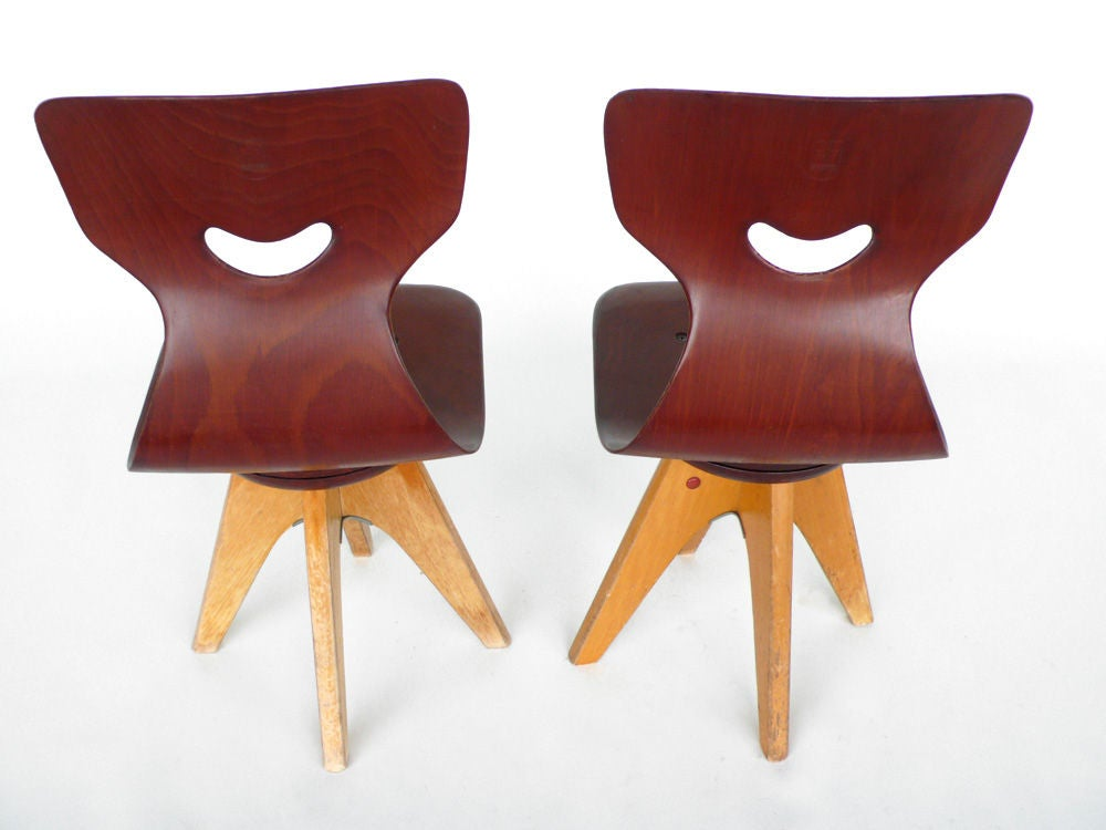 Pair of  Modernist Bentwood Adam Stegner Children's Chairs Pagho image 4
