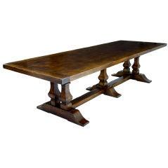 MASSIVE ENGLISH OAK REFECTORY TABLE SEATS 10-12