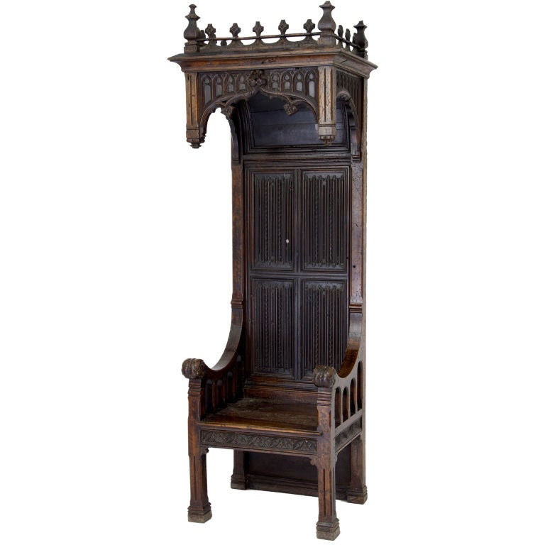16th century and later french gothic walnut bishop throne