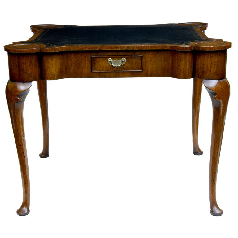 Queen Anne Style Walnut Games Table On Cabriole Legs At