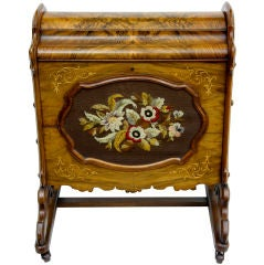 19th Century walnut canterbury with woolwork decoration