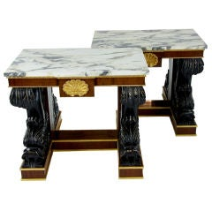 Pair of grey veined white marble top consol tables