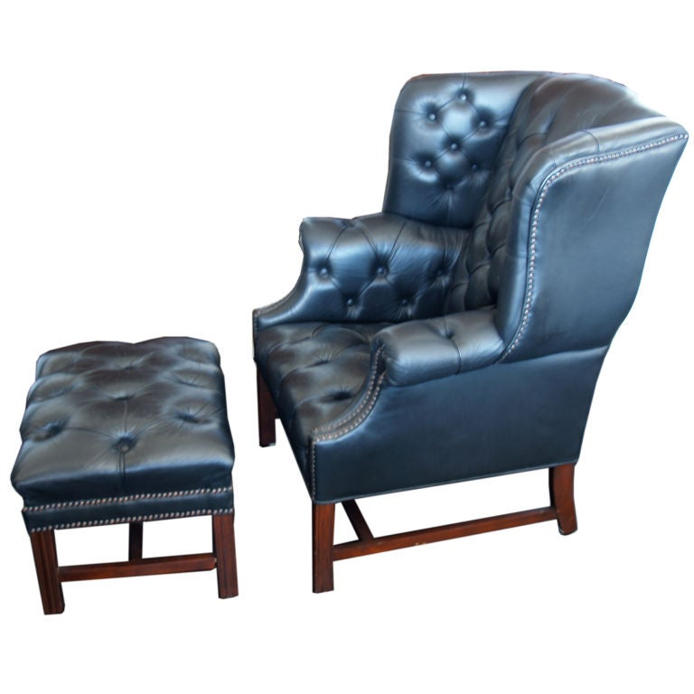 Chesterfield Wingback Chair With Ottoman 1