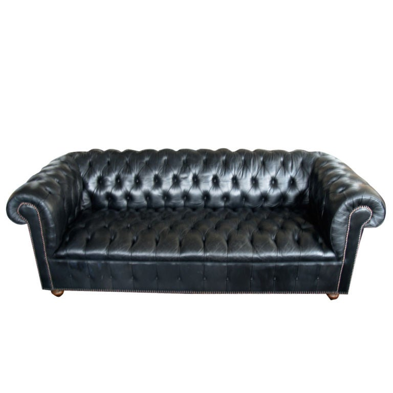 1960's black leather chesterfield sofa couch 1