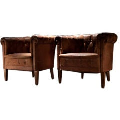 Pair of Leather Barrel Club Chairs