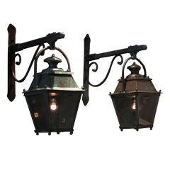 Cast Iron and Copper Hanging Garden Lanterns