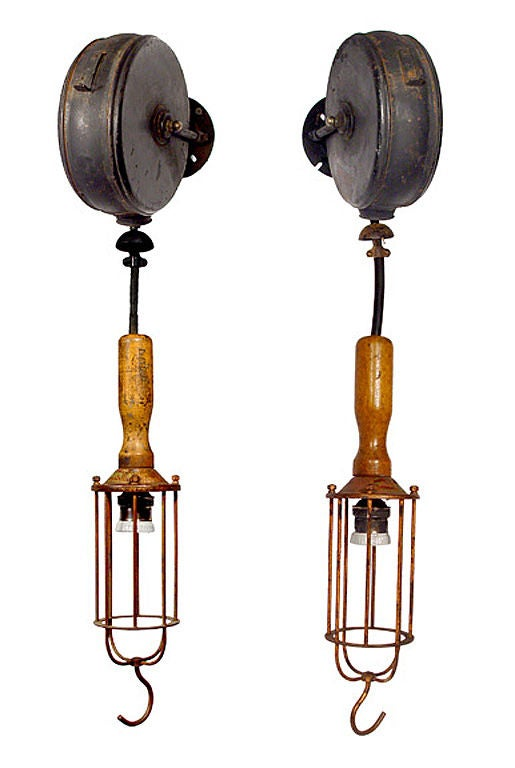Wall Mounted Work Lamps : Industrial Caged Wall Mounted Work Light with Retractable Cord at 1stdibs