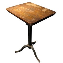 Tall Sculpture Side Work Table with Adjustable Wood Top