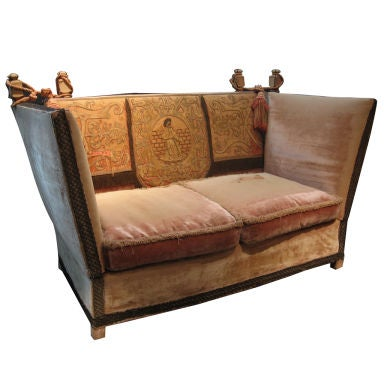 Knole Velvet Sofa with Silk and Hand Appliqued Details