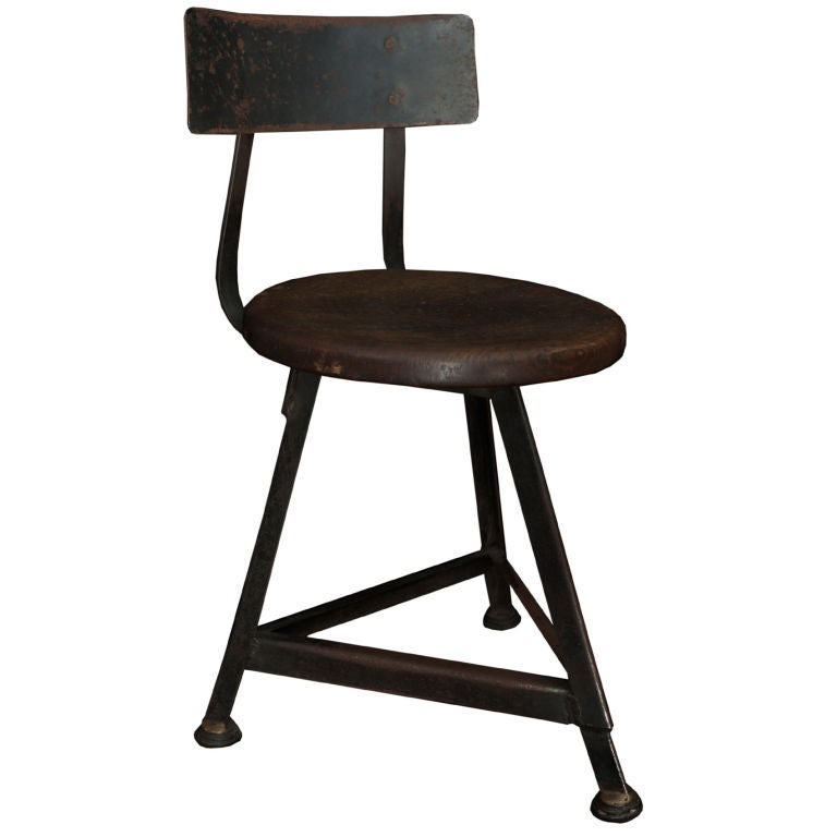 Industrial Metal Stool With Wood Seat At 1stdibs