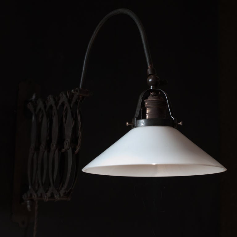 Industrial Wall Mount Scissor Lamp at 1stdibs