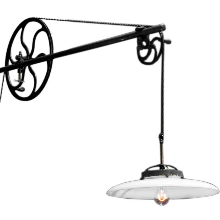 Industrial Wall Mount Pulley Light At 1stdibs