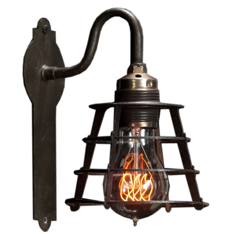 Metal Industrial Wall Lights : Industrial Metal Caged Sconce at 1stdibs