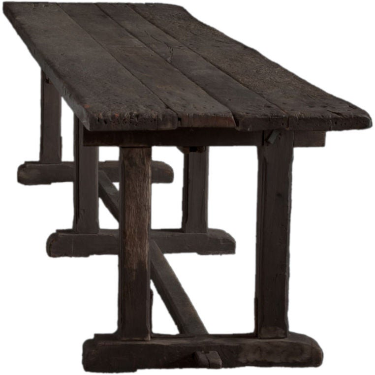 Primitive Long Wood Dining Work Table At 1stdibs