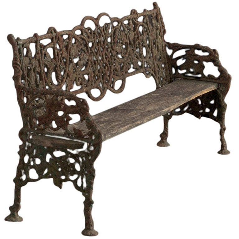 Unique cast iron and wood garden bench at 1stdibs - Wood and iron garden bench ...