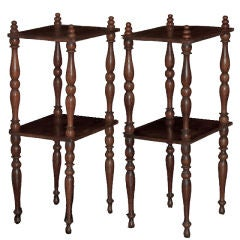 Wood Etagere Side Tables with Two Shelves and Turned Legs