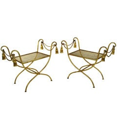 Pair of Italian Gold Leaf Tassel Benches